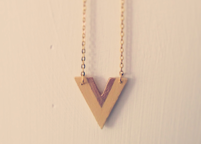 Air-dry clay handmade yellow gold chevron necklace