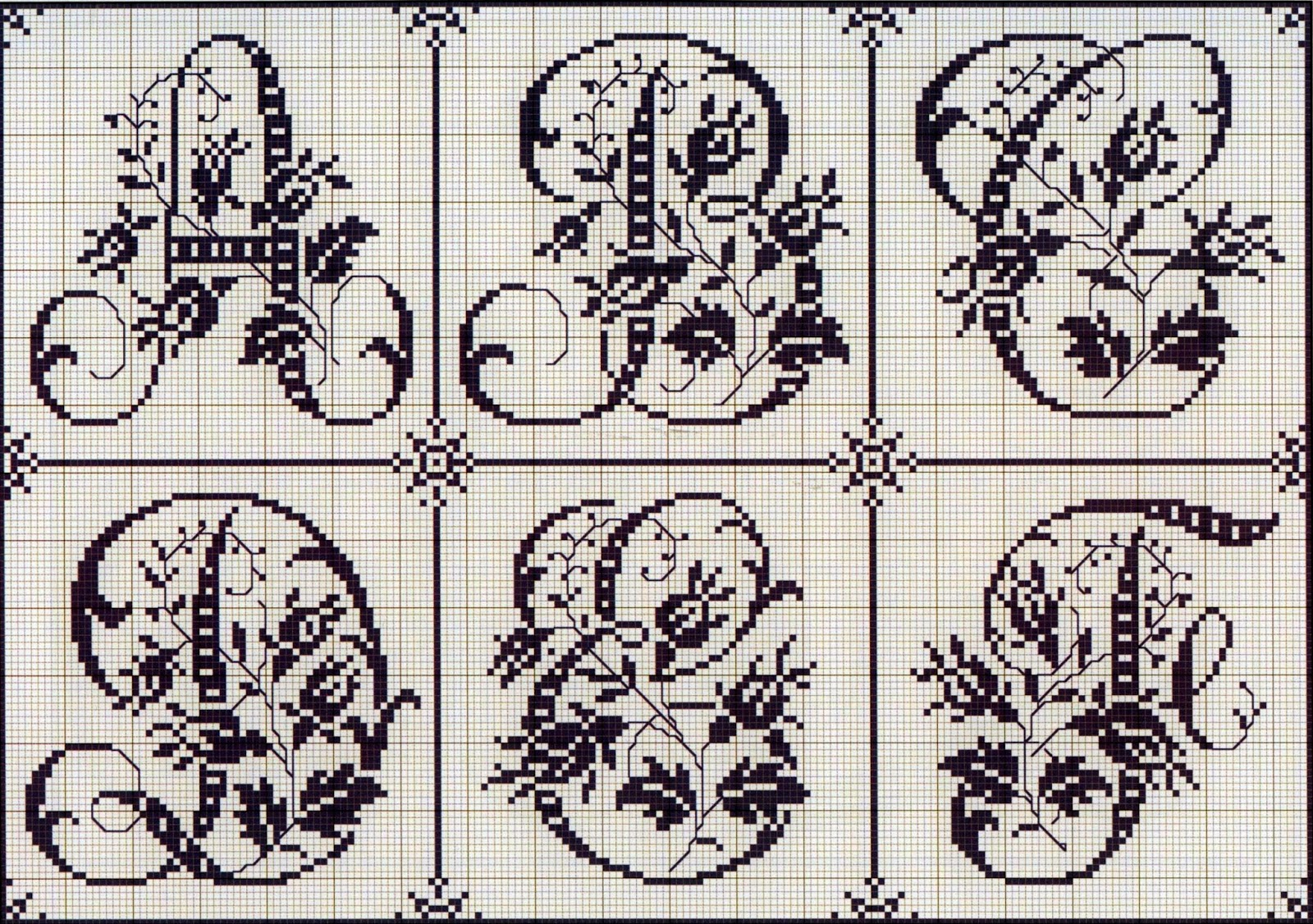 вышивка крестом монограмма схема