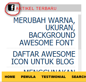 Memasang Awesome Icon di Judul Gadget atau Menubar