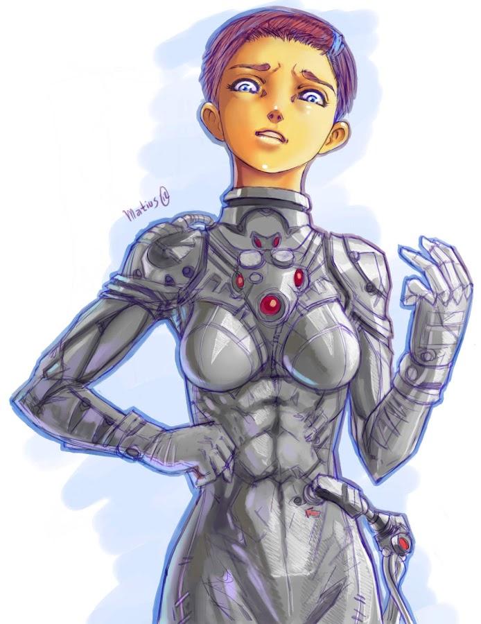 Chica traje submarino ilustracion manga style
