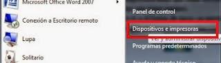 printing devices menu windows