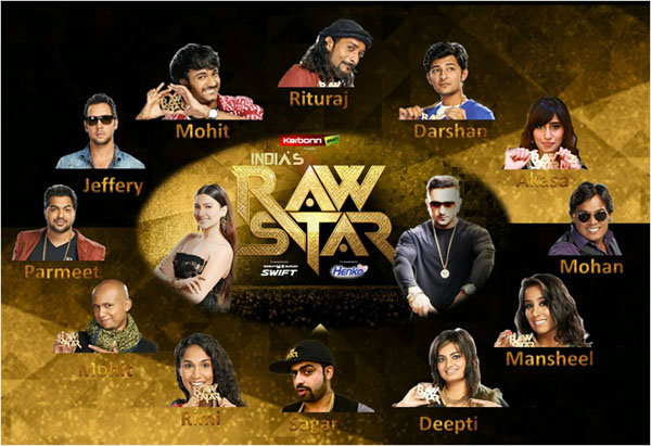 India's Raw Star judge Yo Yo Honey Singh, host Gauhar Khan and contestants