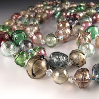 Three Strands of Colorful Hollow SRA Lampwork Beads