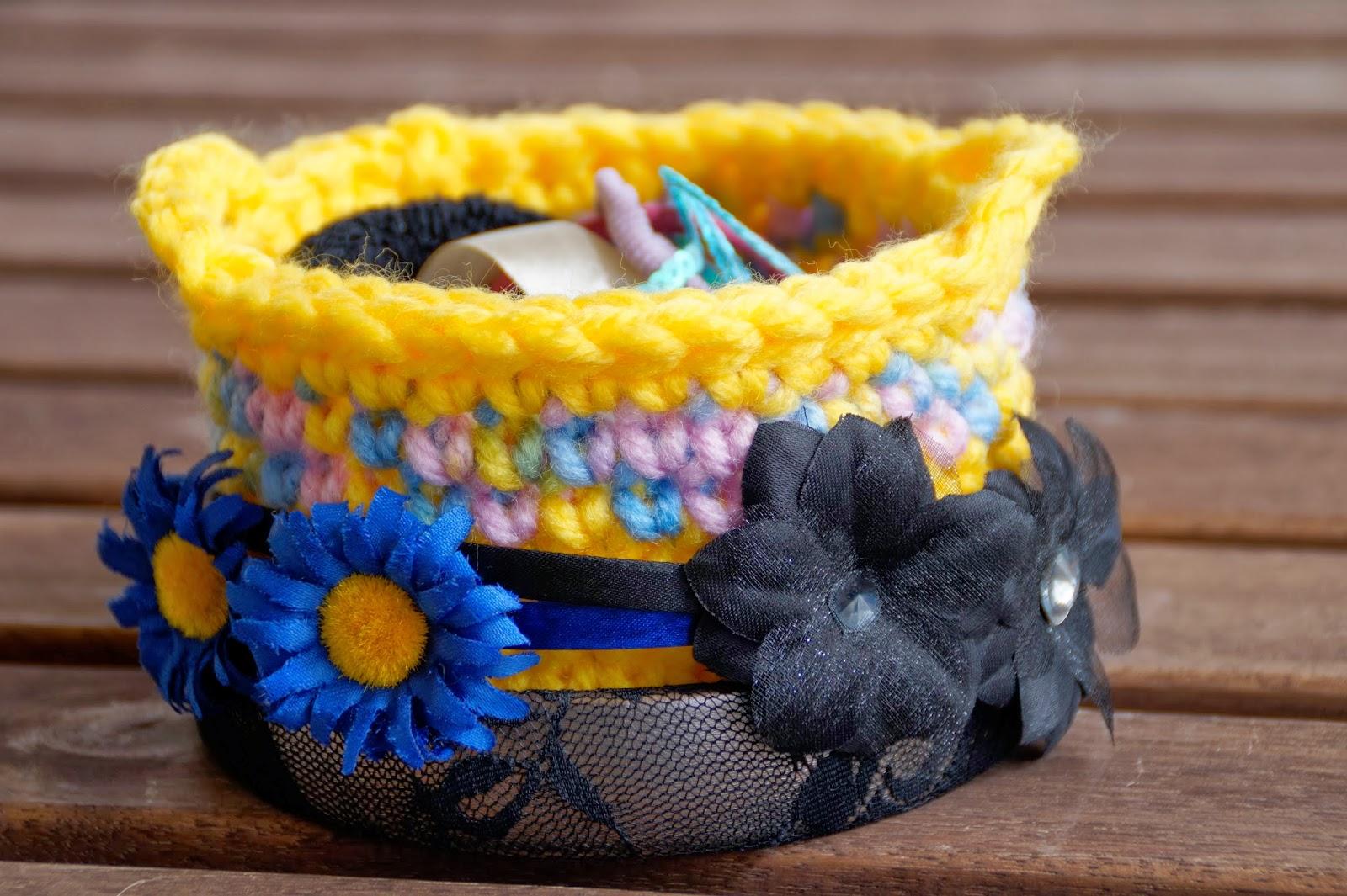 Mi mundo de baldosas amarillas cesta de ganchillo con patr n - Cestas de ganchillo ...