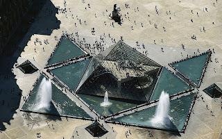 France Paris Louvre Pyramid Top View HD Wallpaper