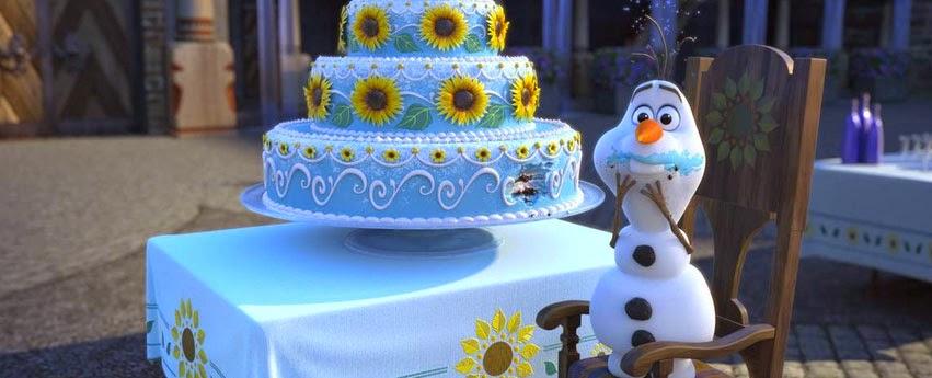 Olaf comiendo pastel