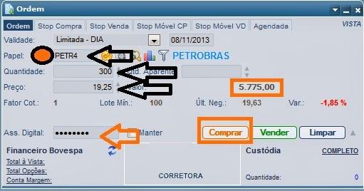 Ordem de compra de ações na Bovespa