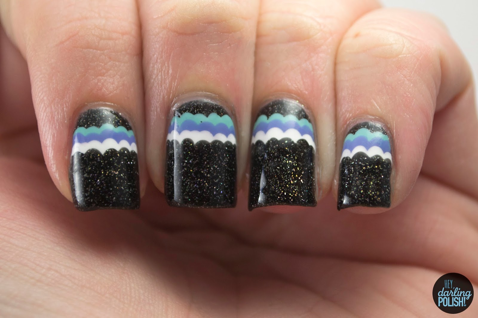 nails. nail art, nail polish, polish, ruffles, black, blue, white, purple, theme buffet, hey darling polish, zoya storm