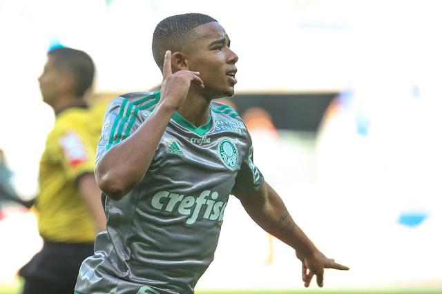 Gabriel Jesus em Palmeiras x Joinville, no Allianz Parque