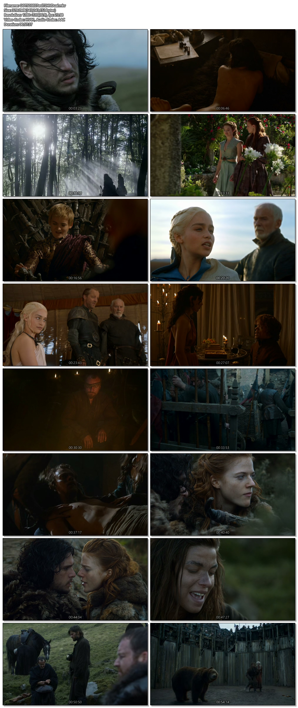Screenshots Of Hindi Dubbed Show Game of Thrones 2013 Season 03 Episode 07 300MB 720P HD