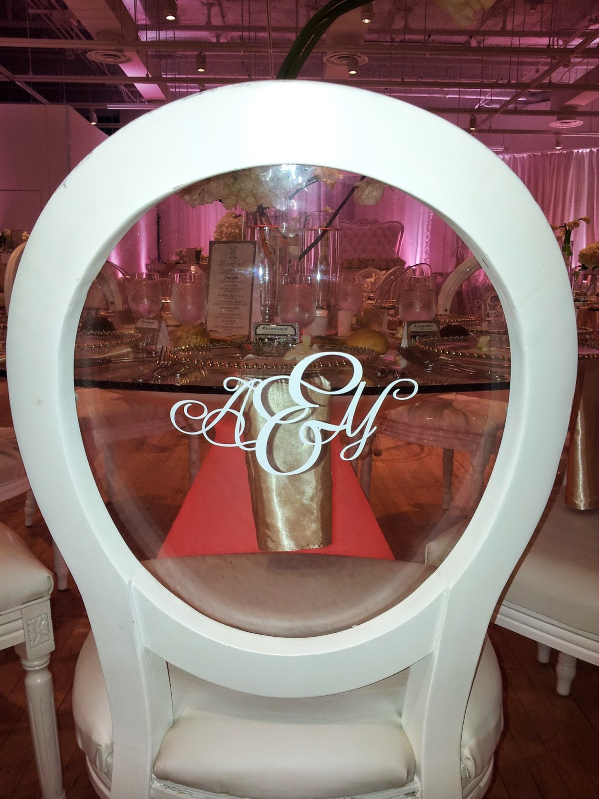 Custom Vinyl Decal Monogram on a ghost chair