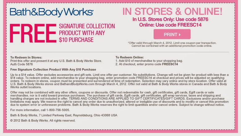 Bath & body works coupon code