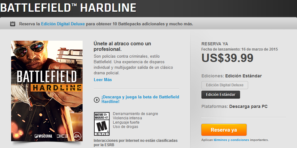 Battlefield Hardline Standard Edition in Mexican Origin Store