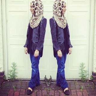 Foto Busana Muslim Tren 2014 Bahan Jeans Outer Kulit Ngetrend