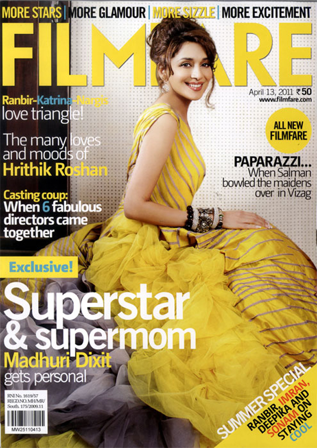Madhuri Dixit Sizzles on Filmfare Magazine Cover - April 2011