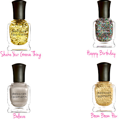 Deborah Lippmann, Deborah Lippmann nail polish, Deborah Lippmann Believe, Deborah Lippmann Happy Birthday, Deborah Lippmann Boom Boom Pow, Deborah Lippmann Shake Your Groove Thing, nail, nails, nail polish, polish, lacquer, nail lacquer, giveaway, beauty giveaway, 12 days of beauty giveaways