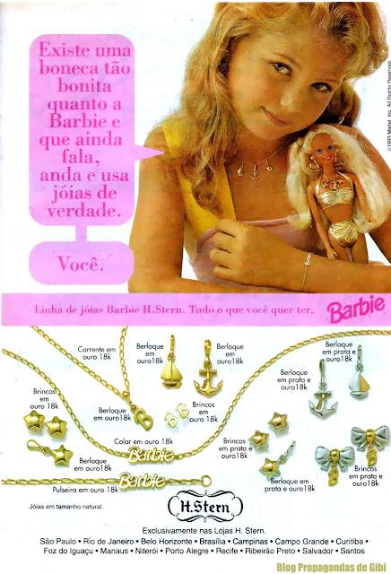 Propaganda da série de joias em homenagem a Boneca Barbie. Propaganda da H.Stern em 1993.