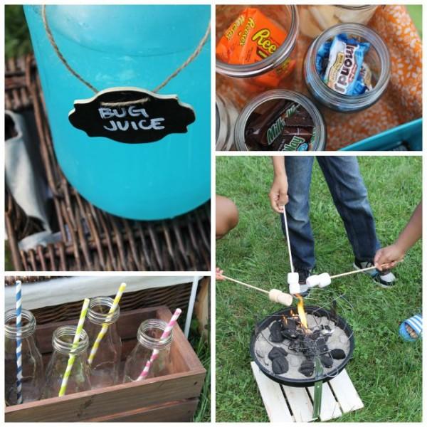 mason jars, milk jars, roasting marshmallows, candy bars