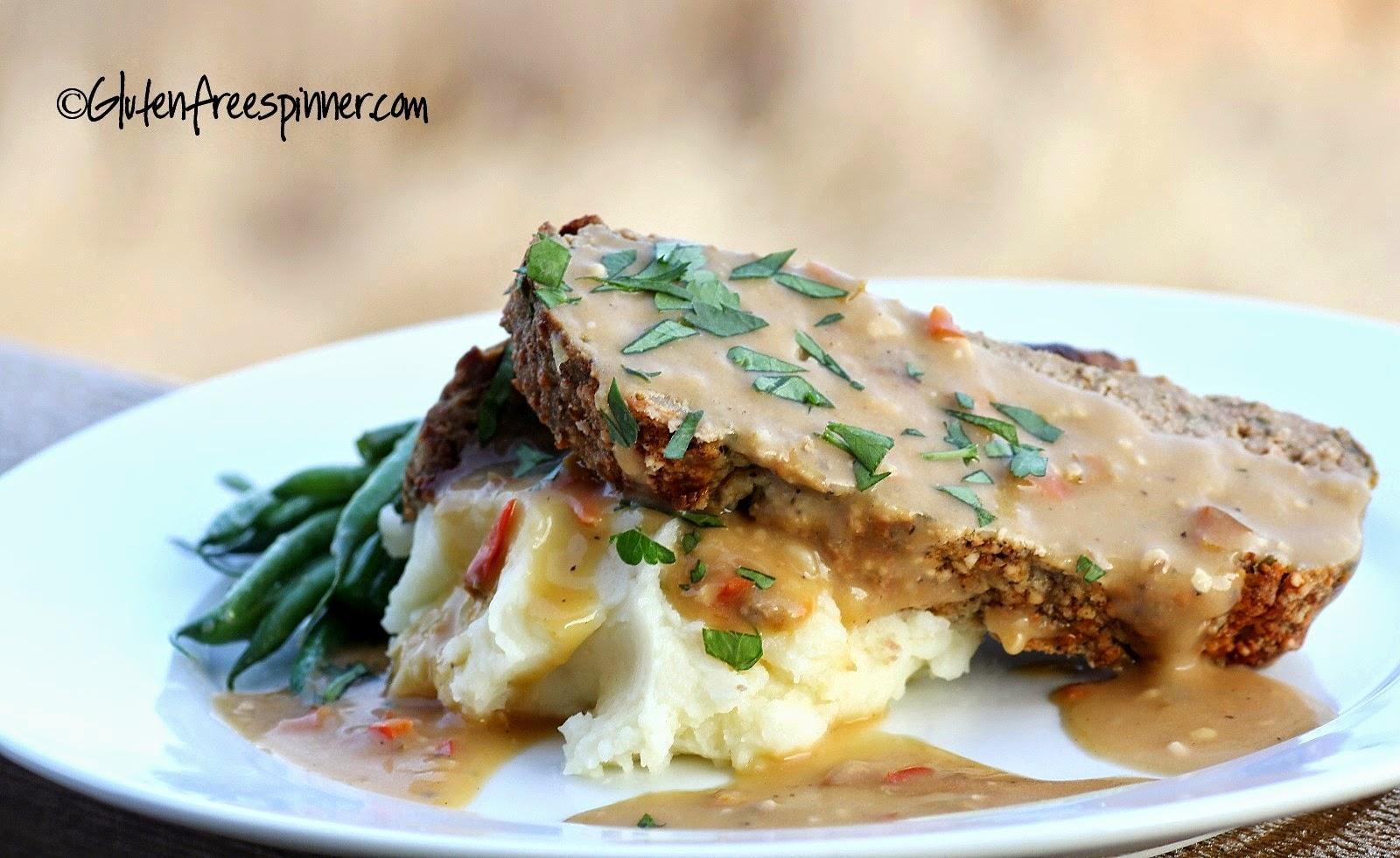 Pesto Infused Meatloaf with Red Pepper Gravy