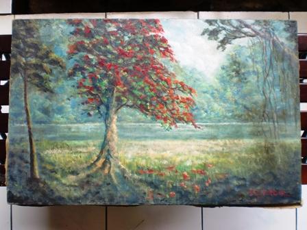Lukisan Pemandangan Danau di Kebun Raya Bogor