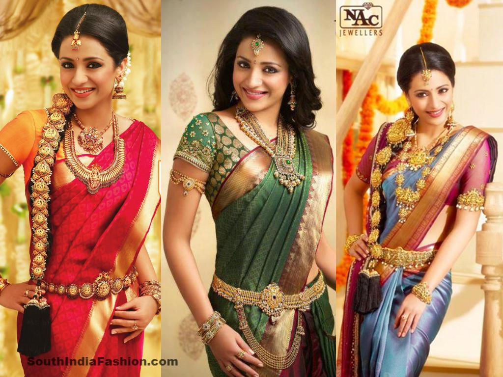 Gorgeous Trisha in Bridal Sarees • South India Fashion
