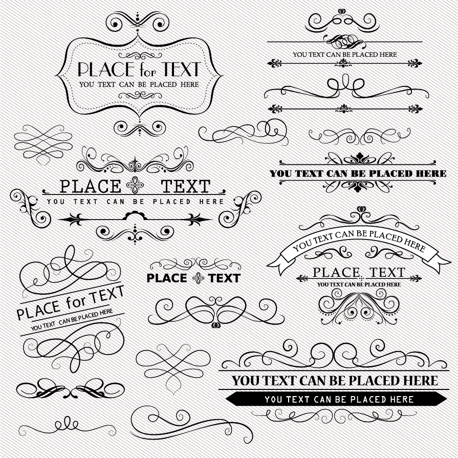 Antique Scroll Design: Free Vector がらくた素材庫: ヴィンテージな飾り罫 Vintage Frames And Scroll