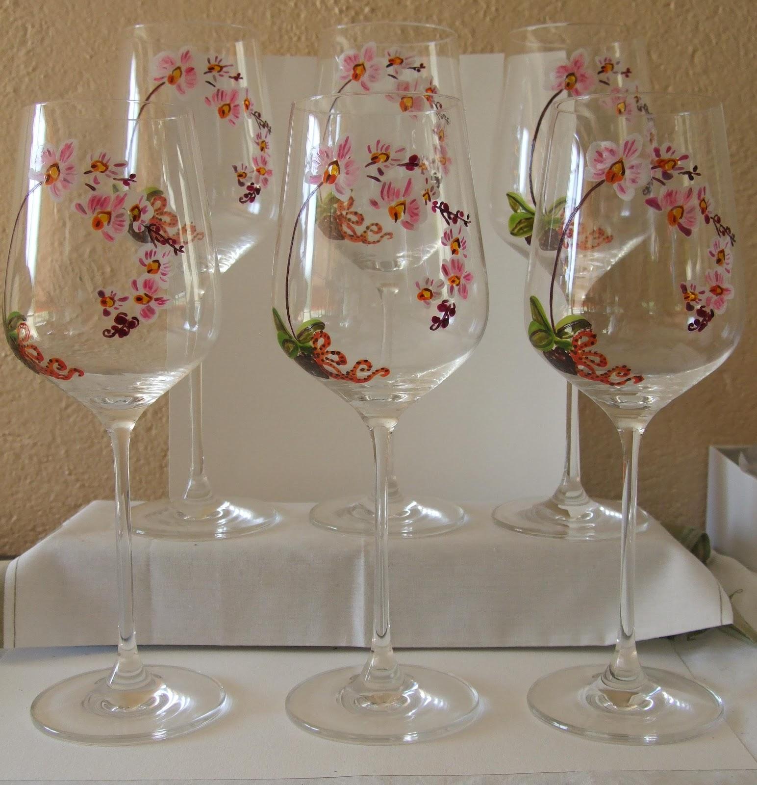 Ma peinture sur verre par ingrid cr ation 6 grands verres for Peinture sur verre