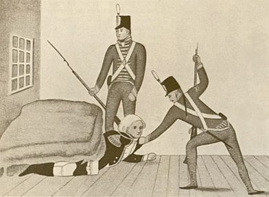 NSW Governor William Bligh being pulled out from under the bed during the Rum Rebellion