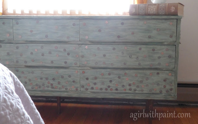 sea green dresser with penny accents