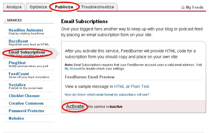 Daftar RSS Feedburner Dan Berlangganan Email Untuk Blog 5