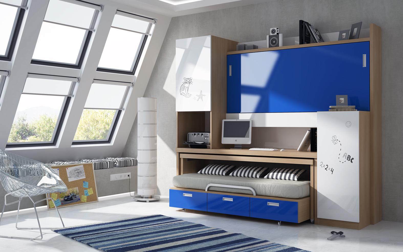 nuevo modelo de litera cama mesa con cama alta abatible y cama nido debajo