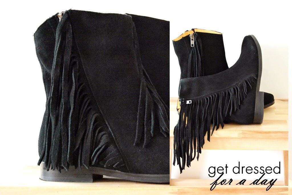 Fringe boots, Buffalo fringe black boots