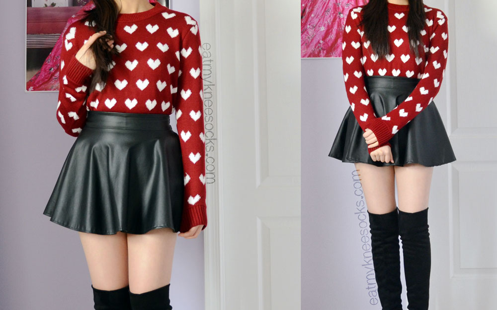 Ulzzang-inspired outfit featuring the Sweetbox Store wine red heart sweater, leather flared skater skirt, and black boots.