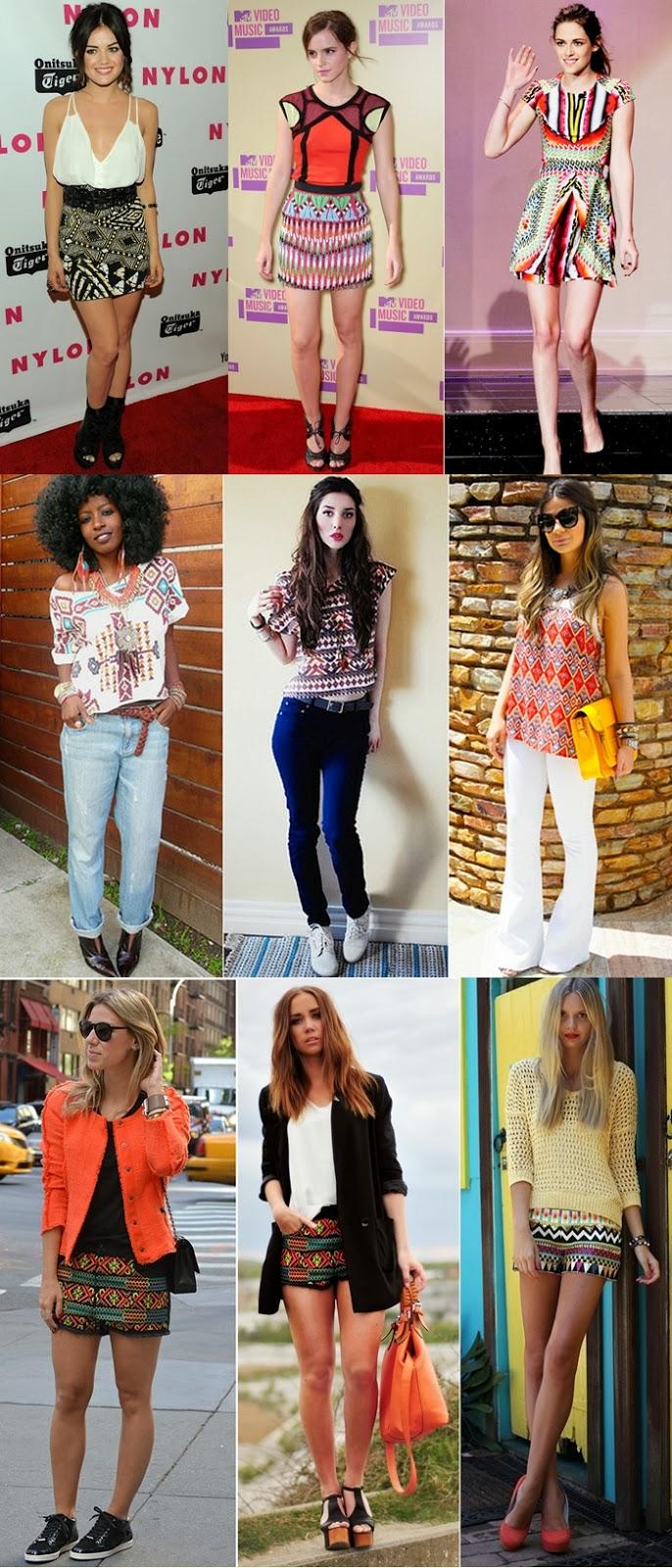 Looks étnicos: saia, shorts, vestidos, acessórios