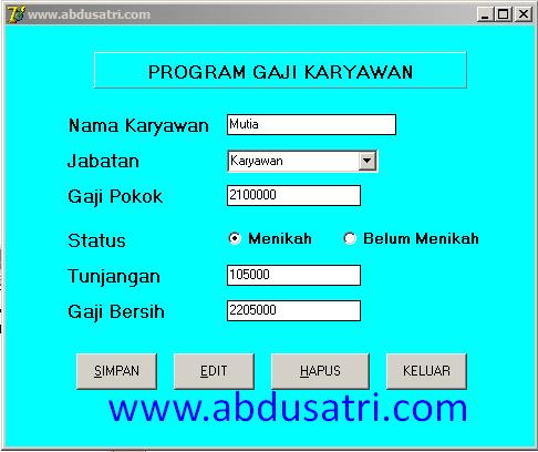 contoh program sederhana di delphi