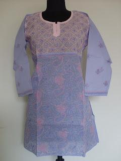 Pink lavender lucknowi chikankari kurta