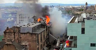 Glasgow School of Art - the old (in flames)and the new