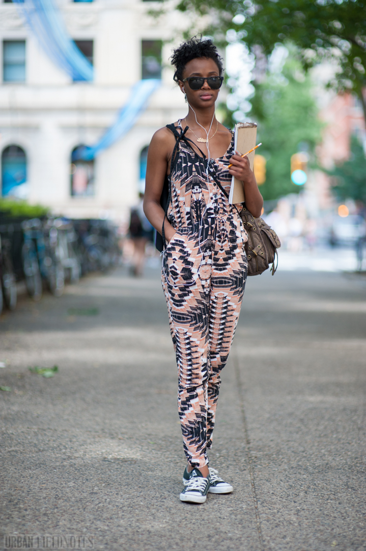 print jumpsuit H&M canvass bag