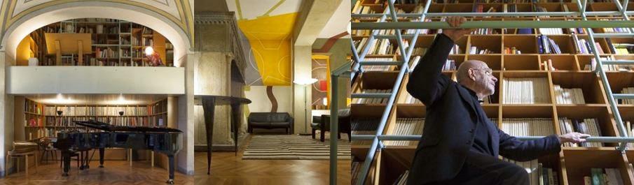Kệ sách cao 9 mét tích hợp cầu thang là nơi Mario Bellini đắm chìm trong sáng tạo