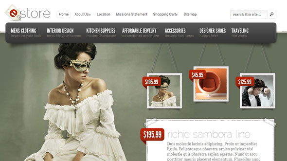 eStore Shopping Wordpress Theme Free Download by ElegantThemes.
