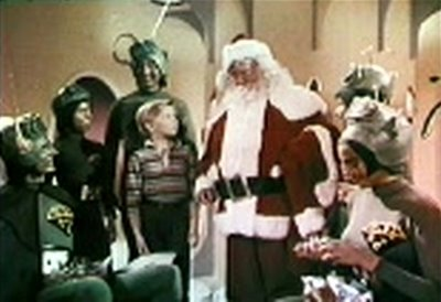 Santa and the Martians in Santa Claus Conquers the Martians http://movieloversreviews.blogspot.com/2012/12/santa-claus-conquers-martians-1964.html