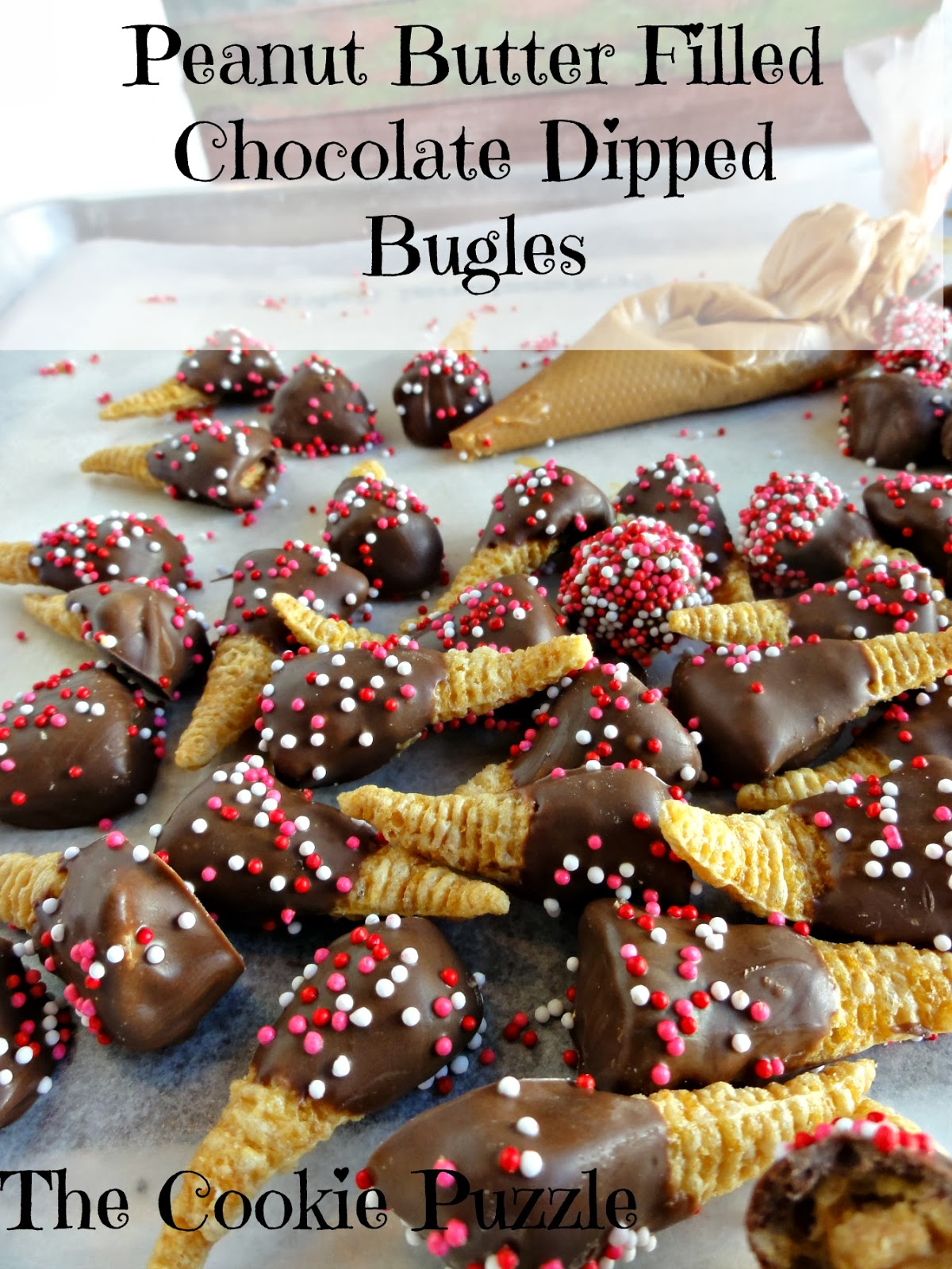 Peanut Butter Filled Chocolate Dipped Bugles