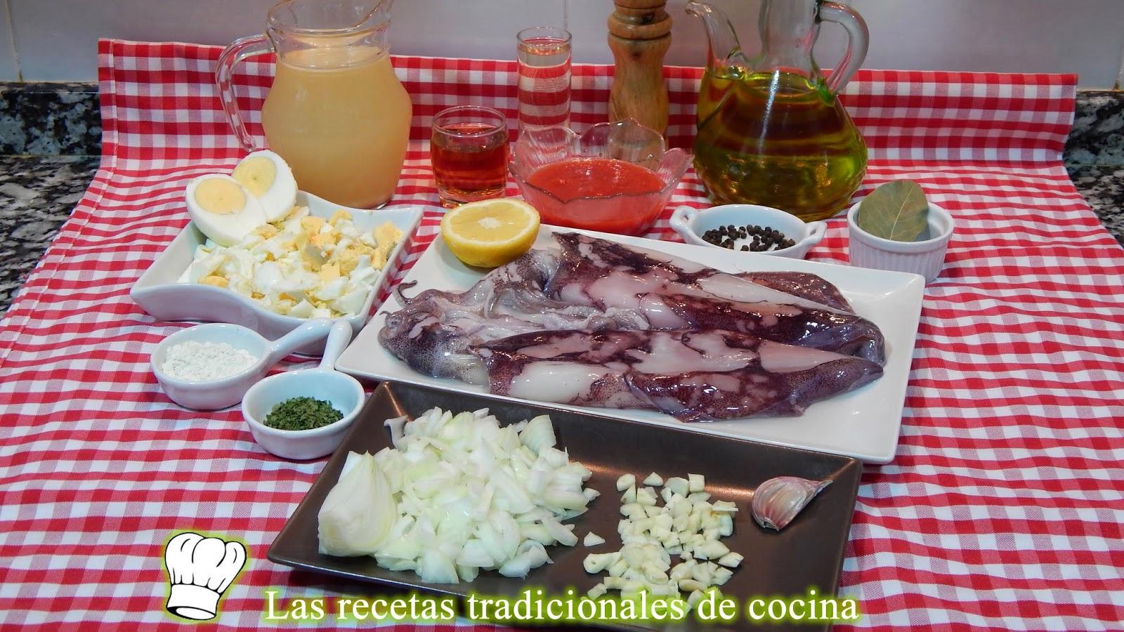 Receta de calamares rellenos en salsa