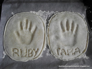 Salt Dough Plaque made with Handprints