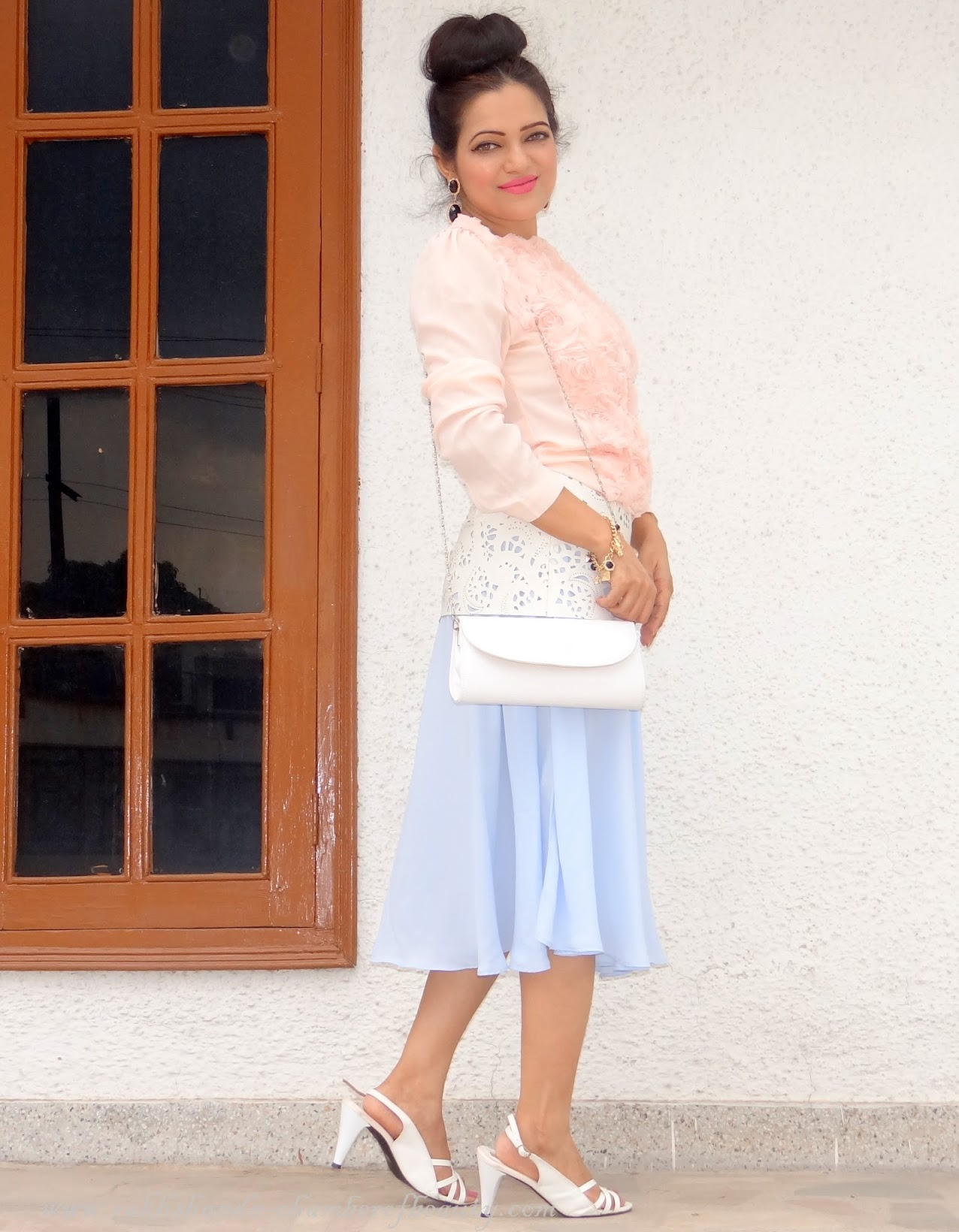 Gone with the wind- OOTD | How to style a pleated midi skirt, Outfit of the Day, Front Row Shop, Indian fashion blogger, Chamber of Beauty