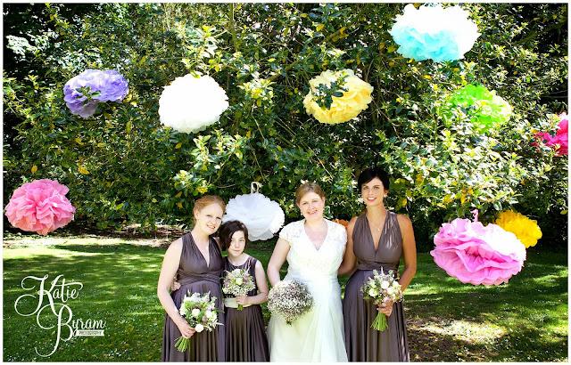 paper pom poms, wedding pom poms, charlotte balbier, northumberland wedding, katie byram photography, ellingham hall