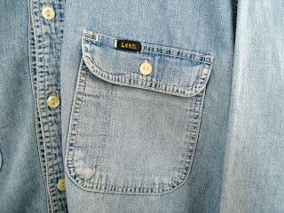 vintage mens denim shirt, denim shirt by lee jeans, vintage lee jeans, cutandchicvintage mens denim shirts