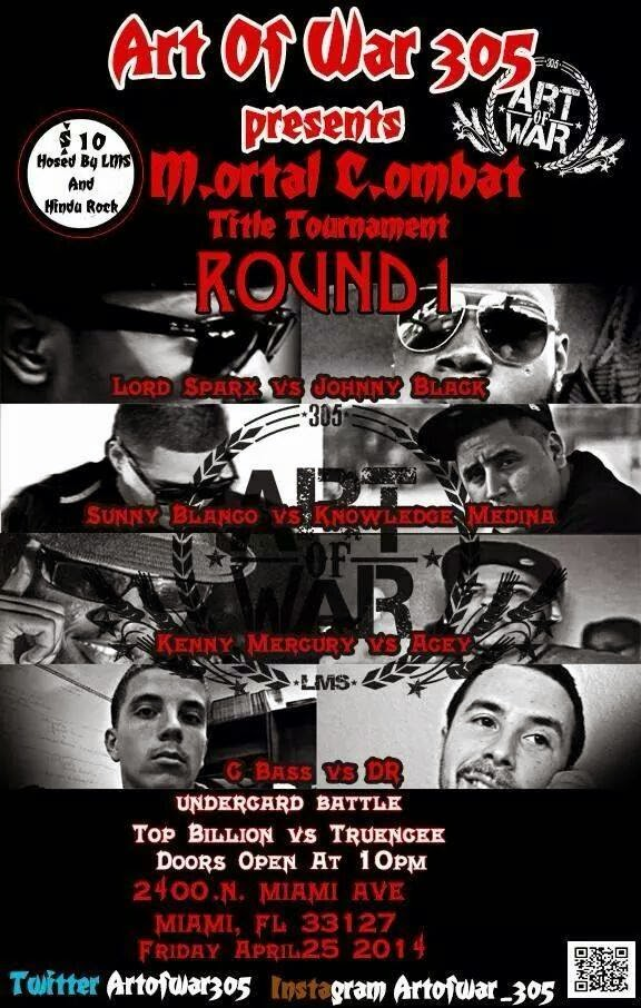 Art Of War 30 Mortal Combat Torunaent LMS Johnny Black Lord Sparx Rap Battle Hip Hop flyer image
