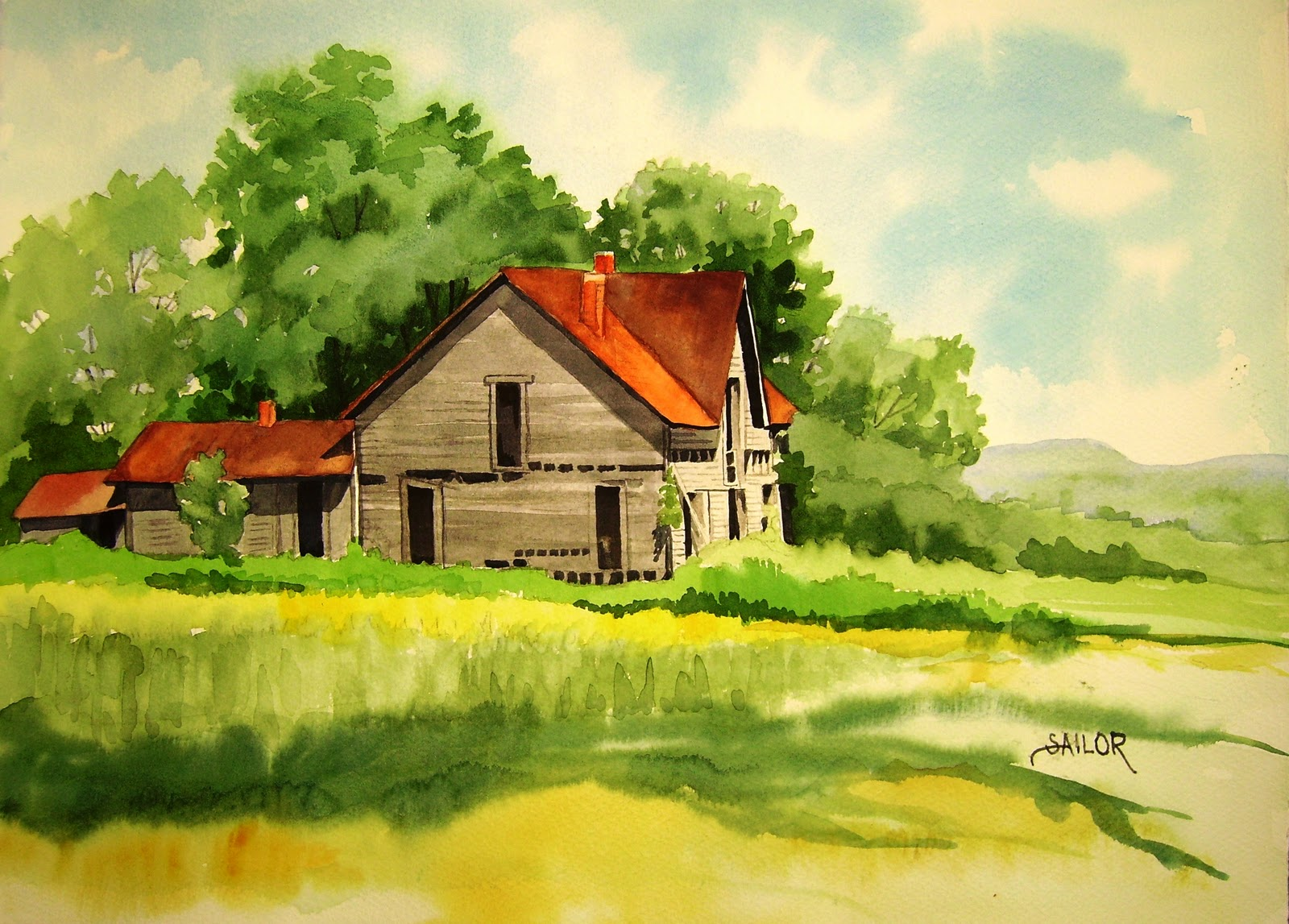 Watercolor in the Village: The Old Buzzard House on County 13