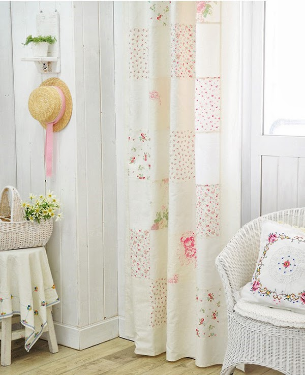 Shabby Chic Cream And Pink Linen Patchwork Curtains In Shabby Chic